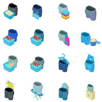 Zestaw ikon dżinsy do prania