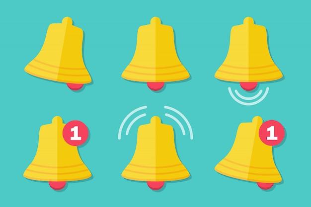 Zestaw ikon dzwonka powiadomień w płaskiej konstrukcji