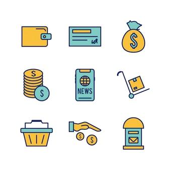 Zestaw ikon e-commerce na białe tło wektor na białym tle elementów