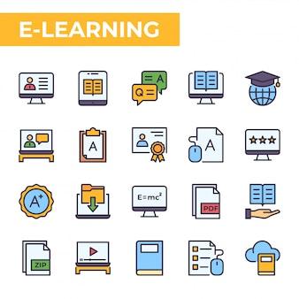 Zestaw ikon e-learningu, wypełniony styl koloru