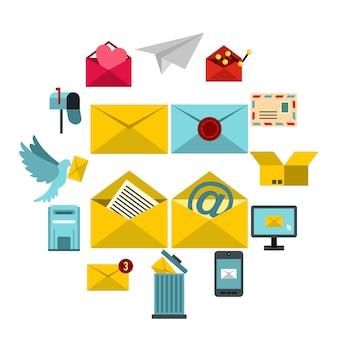 Zestaw ikon e-mail, płaski ctyle