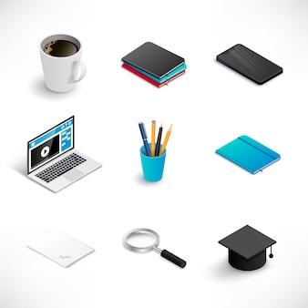 Zestaw ikon edukacji izometrycznej. stos książek, kawiarnia, smartfon, laptop, notatnik, papier.