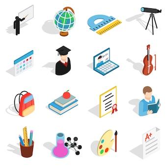 Zestaw ikon edukacji izometrycznej. uniwersalne ikony edukacji do korzystania z sieci i mobilnych interfejsu użytkownika, zestaw podstawowych elementów edukacji na białym tle ilustracji wektorowych
