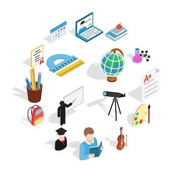 Zestaw ikon edukacji, izometryczny styl 3d