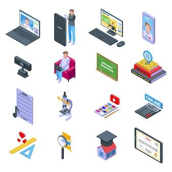 Zestaw ikon edukacji na odległość. izometryczny zestaw ikon edukacji na odległość dla sieci web na białym tle