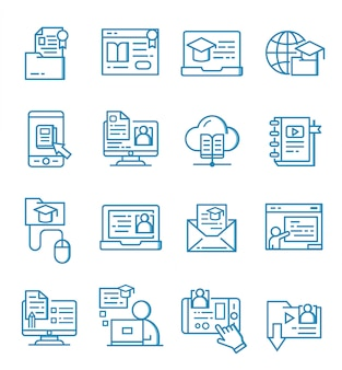 Zestaw ikon edukacji online w stylu konspektu