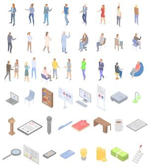Zestaw ikon edukacji personelu, izometryczny styl
