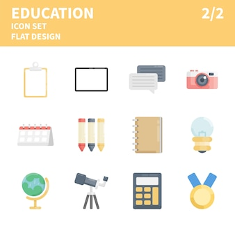 Zestaw ikon edukacji płaskiej. ikony edukacji w stylu płaski. zestaw ikon koncepcja płaska konstrukcja dla sieci web, aplikacji mobilnych itp.
