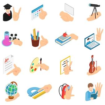 Zestaw ikon edukacji szkolnej, izometryczny styl