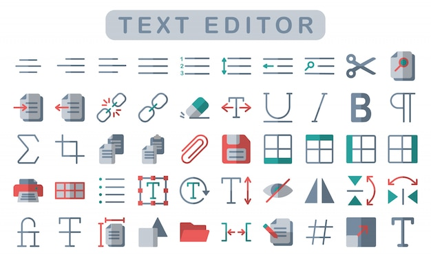 Zestaw ikon edytora tekstu, płaski