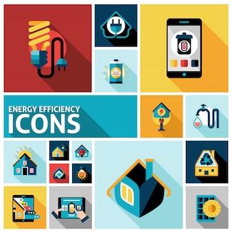 Zestaw ikon efektywności energetycznej
