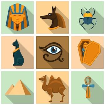 Zestaw ikon egiptu. piramida, trumna i sarkofag, mumia i sekret, archeologia i sfinks, wielbłąd i chrząszcz