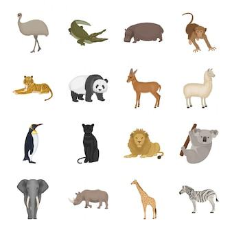 Zestaw ikon egzotycznych zwierząt kreskówki. kreskówka na białym tle ikona ustaw zoo. egzotyczne zwierzę.