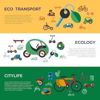 Zestaw ikon ekologicznej zielonej technologii transportu