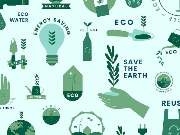 Zestaw ikon ekologicznych i zielone