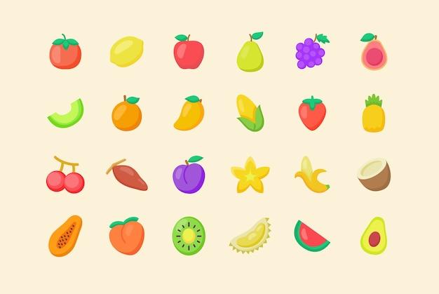 Zestaw ikon ekologicznych świeżych owoców