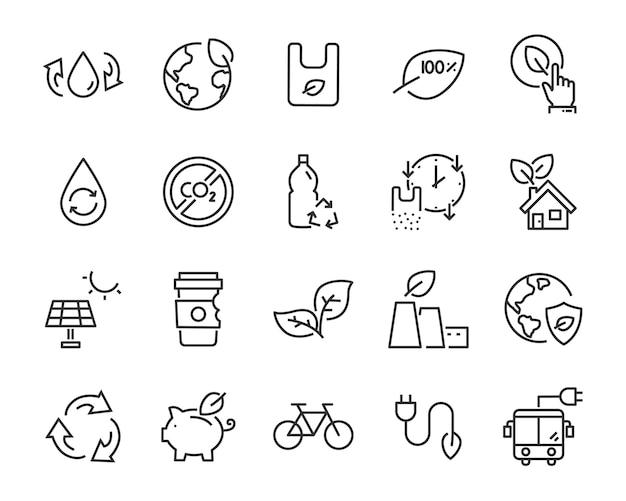 Zestaw ikon ekologicznych tworzyw sztucznych, takich jak ponowne użycie, recykling, natura, zielona energia