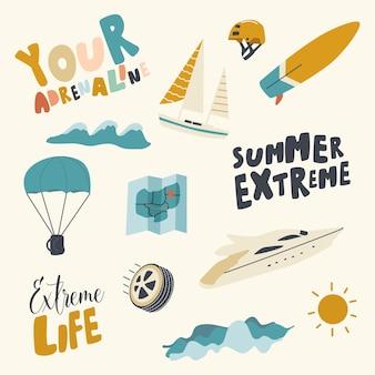 Zestaw ikon ekstremalnych lato. aktywność adrenalinowa, spadochroniarstwo rekreacyjne w okresie letnim, surfing i żeglarstwo