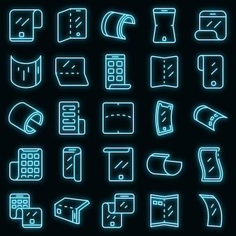 Zestaw ikon elastycznego ekranu. zarys zestaw elastycznych ikon wektorowych na ekranie w kolorze neonowym na czarno
