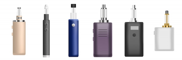 Zestaw ikon elektronicznych papierosów, realistyczny styl