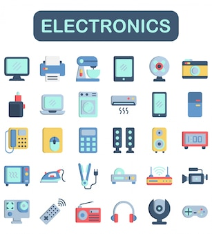 Zestaw ikon elektroniki,