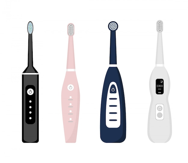 Zestaw ikon elektryczna szczoteczka do zębów na białym tle. element do czyszczenia zębów. ilustracja sprzęt stomatologiczny. narzędzie do pielęgnacji zębów w stylu płaskiej.