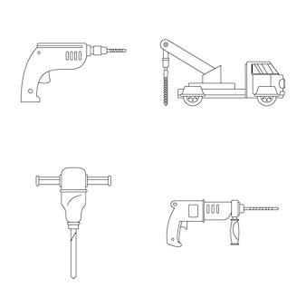 Zestaw ikon elektrycznych wiertarki