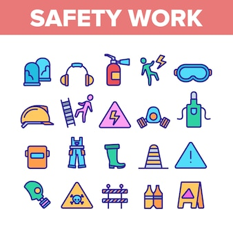 Zestaw ikon elementów bezpieczeństwa pracy
