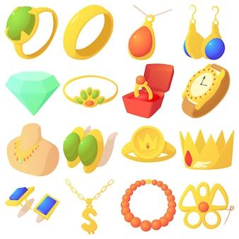 Zestaw ikon elementów biżuterii