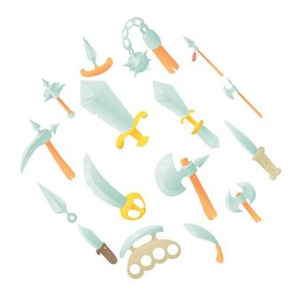 Zestaw ikon elementów broni ze stali, stylu cartoon