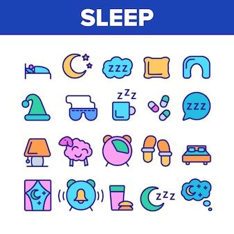 Zestaw ikon elementów czasu snu