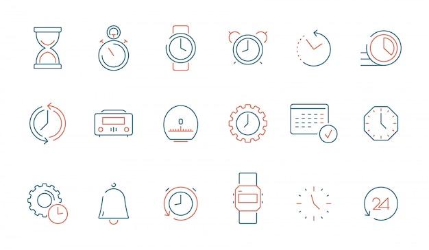 Zestaw ikon elementów czasu