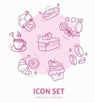 Zestaw ikon elementów deserowych w stylu doodle design dla karty z pozdrowieniami menu kawiarni lub restauracji