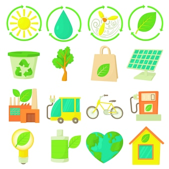 Zestaw ikon elementów ekologii