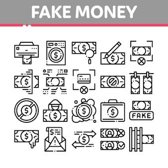 Zestaw ikon elementów fałszywych pieniędzy kolekcji