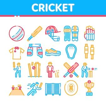 Zestaw ikon elementów gry kolekcja krykieta