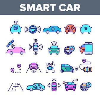 Zestaw ikon elementów inteligentnego samochodu