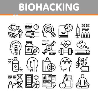 Zestaw ikon elementów kolekcja biohackowania