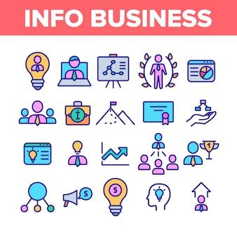 Zestaw ikon elementów kolekcji informacji biznesowych