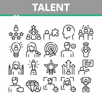 Zestaw ikon elementów kolekcji ludzkich talentów
