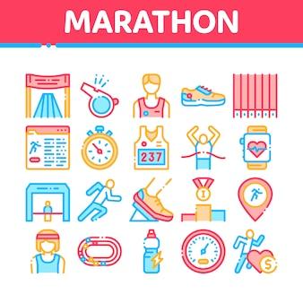 Zestaw ikon elementów kolekcji maraton