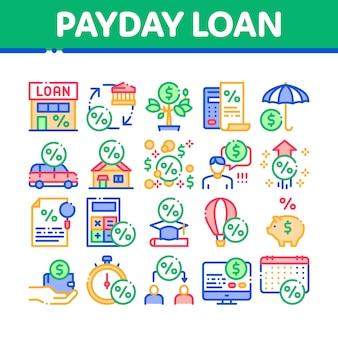 Zestaw ikon elementów kolekcji payday loan