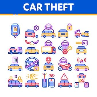 Zestaw ikon elementów kolekcji samochodów kradzieży