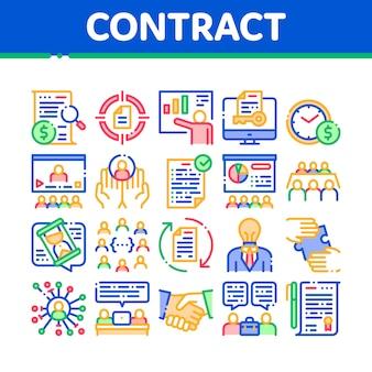 Zestaw ikon elementów kolekcji umowy