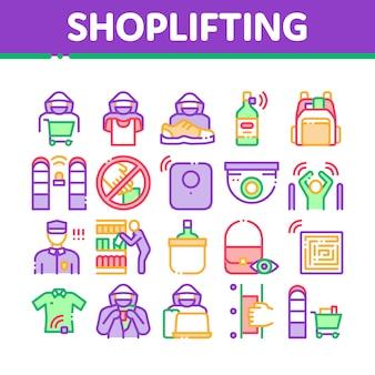Zestaw ikon elementów kradzieży w sklepie