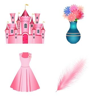 Zestaw ikon elementów księżniczki na białym tle. płaski styl.