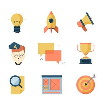 Zestaw ikon elementów marketingu