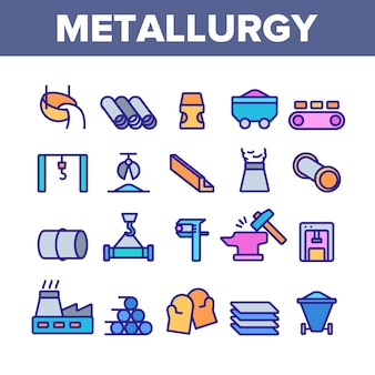 Zestaw ikon elementów metalurgii