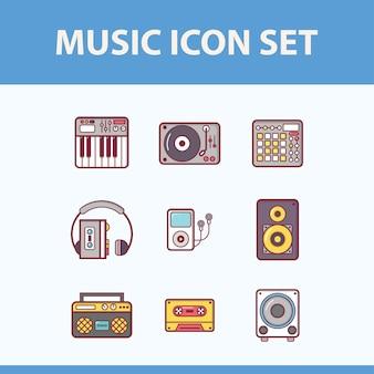 Zestaw ikon elementów muzycznych