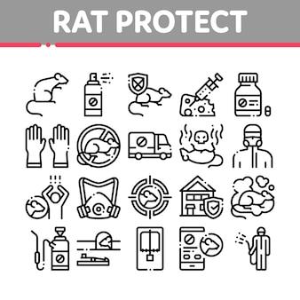 Zestaw ikon elementów ochrony szczur ochrony